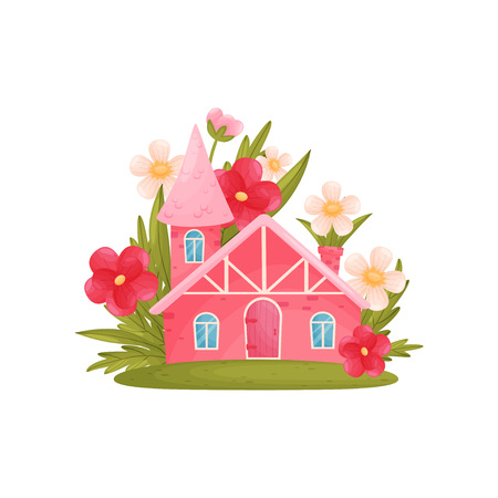 Fabulous house with a tower among the big flowers. Vector illustration on white background. Vettoriali