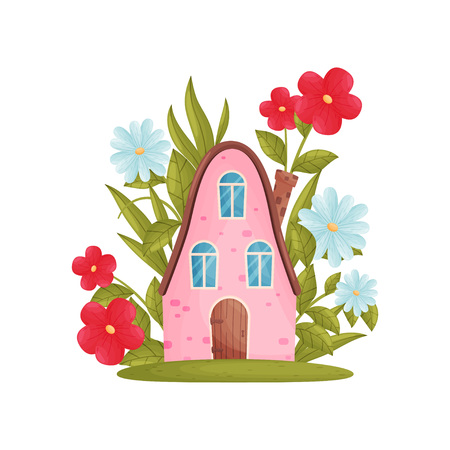 Fabulous house with a rounded roof among flowers. Vector illustration on white background.  イラスト・ベクター素材
