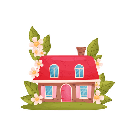 Small house among the flowers and leaves. Vector illustration on white background.