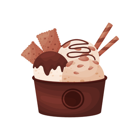 Chocolate balls ice cream in a brown cardboard bowl. Vector illustration on white background.