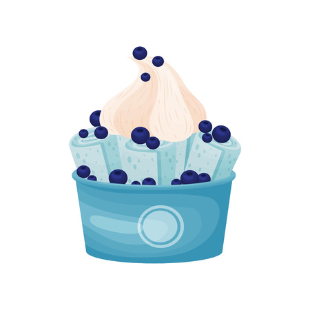 Blue rolls of ice cream in a cardboard bowl. Vector illustration on white background. Çizim