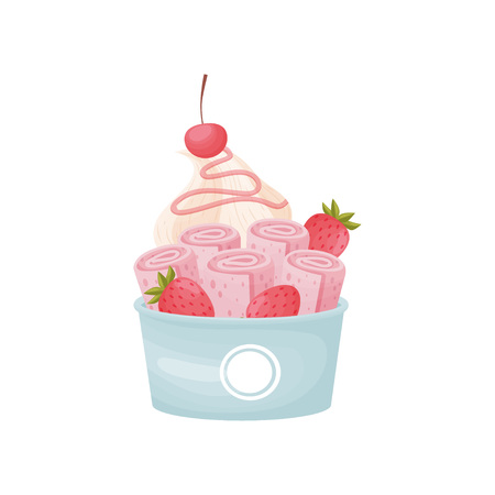 Pink rolls of ice cream with whipped cream in a cardboard bowl. Vector illustration on white background.