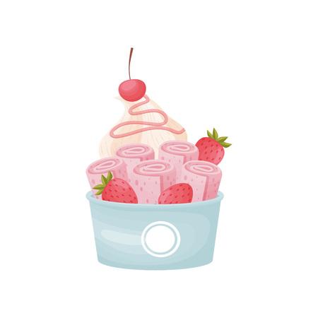 Rosa Eisrollen mit Schlagsahne in einer Pappschüssel. Vektorillustration auf weißem Hintergrund.