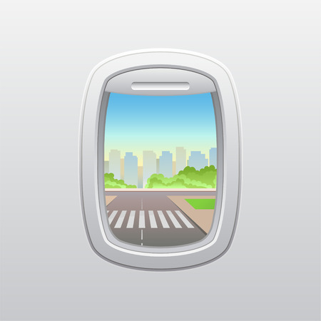 Crosswalk on the background of skyscrapers. View from the window of the plane. Vector illustration.