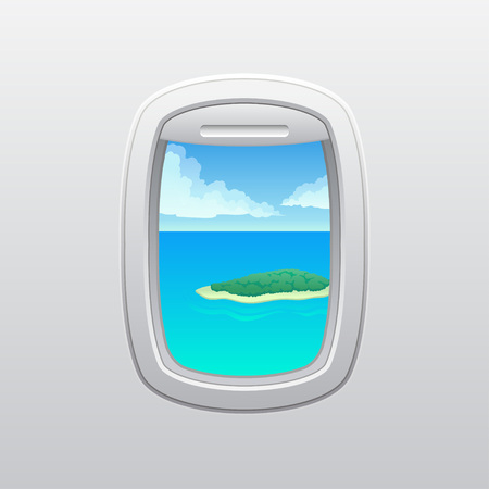 Green island with yarn at the edges in the ocean. View from the window of the plane. Vector illustration on white background.