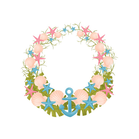 Decorative wreath of sea thematic blue, pink and green colors. Vector illustration.