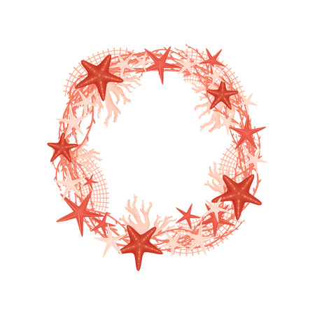 Decorative wreath of sea subjects of red shades. Vector illustration. Illustration
