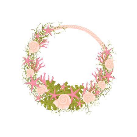Decorative marine wreath of pink rope and green algae. Vector illustration.