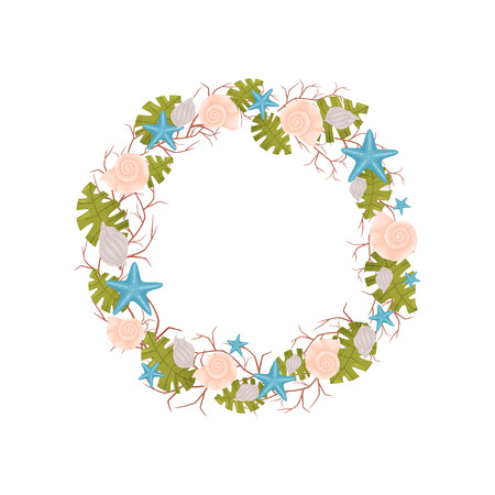 Decorative wreath of marine themes from thin branches with green algae. Vector illustration. Illustration