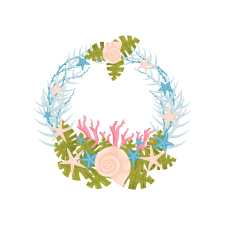Decorative marine wreath of blue branches with pink shells. Vector illustration.