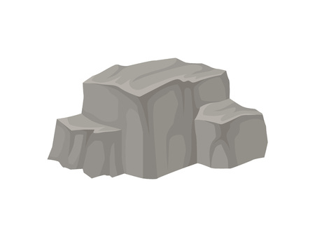 Large stone with a flat top and two flat ledges on the sides. Vector illustration on white background.