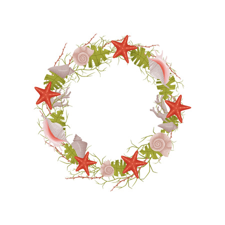 Decorative wreath of sea subjects red and green colors. Vector illustration.
