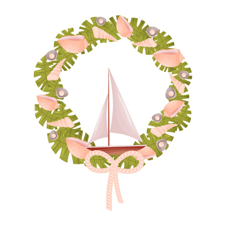 Decorative marine wreath in green shades with a sailboat. Vector illustration. Illustration