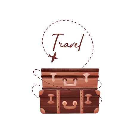 Stack of two old brown closed suitcases. Vector illustration on white background.