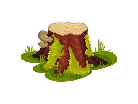 Stumpf mit Pilzen mit Moos auf der Rinde. Vektorillustration auf weißem Hintergrund.