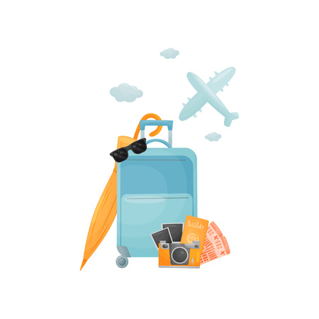 Modern blue closed suitcase on wheels. Vector illustration on white background. Ilustrace
