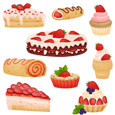 Set of various strawberry pies. Vector illustration on white background.  イラスト・ベクター素材