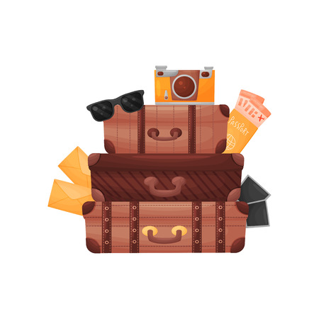 Stack of three old brown closed suitcases. Vector illustration on white background.