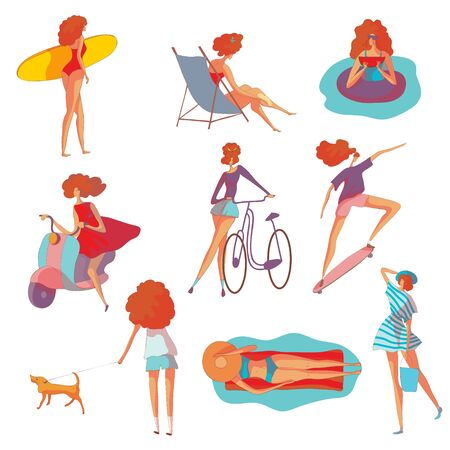 Set of images of a woman at summer holiday. Vector illustration on white background. Ilustração