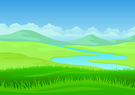River meanders in a hilly green meadow. Vector illustration on white background.