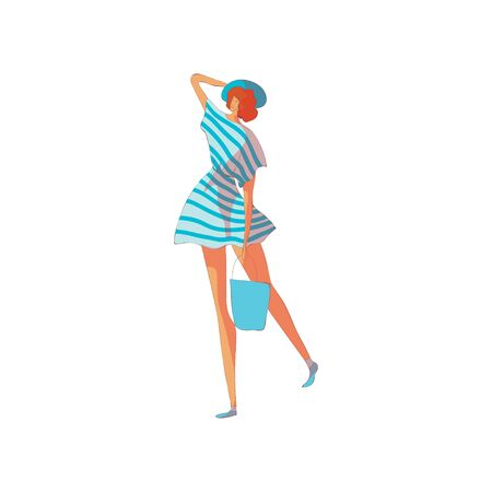 Woman in a striped dress. Vector illustration on white background. Illustration