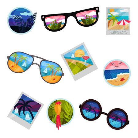 Set of images of tropical landscapes. Vector illustration on white background. Illustration
