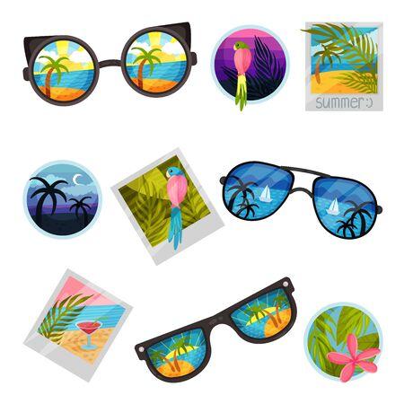 Set of images of summer landscapes. Vector illustration on white background.