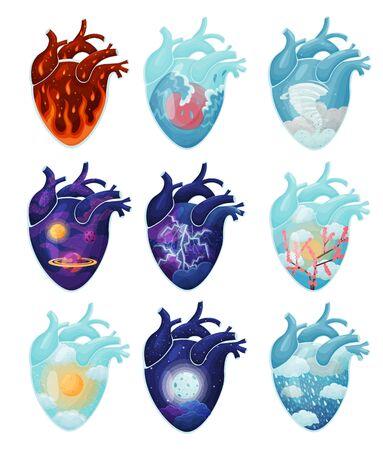 Set of images of natural phenomena inside the heart. Vector illustration on white background. Ilustrace