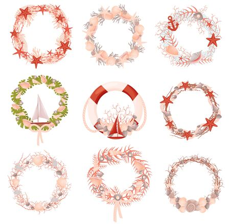 Set of decorative wreaths with a nautical theme. Vector illustration.