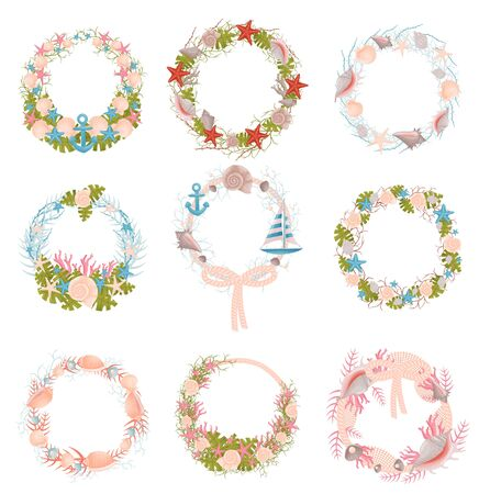Set of wall wreaths with a nautical theme. Vector illustration.