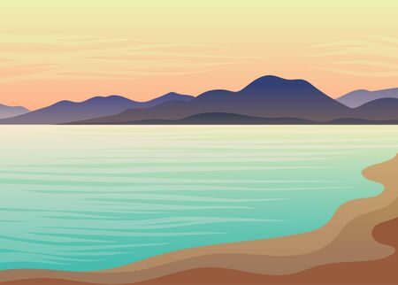Blue sea, sandy beach, hills on the background of a pink sky. Evening landscape. Vector illustration on white background.