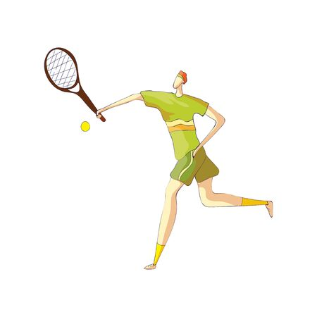 Male tennis player takes the ball with a racket. Vector illustration on white background.