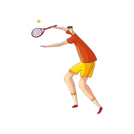 Tennis player catches the ball a racket on top. Vector illustration on white background.