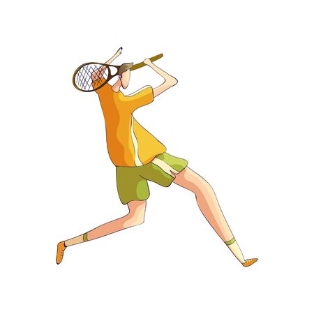 Tennis player swung the racket from behind his head. Vector illustration on white background.