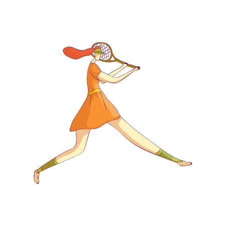 Woman tennis player preparing to strike. Vector illustration on white background.