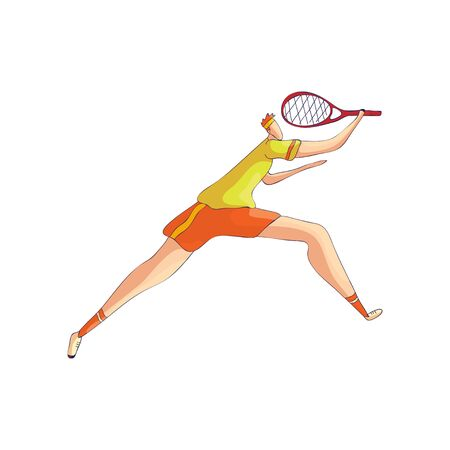 Tennis player in a hurry to hit the ball. Vector illustration on white background. Illustration