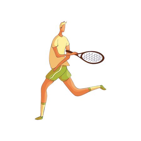 Tennis player runs with a racket. Vector illustration on white background. Illustration