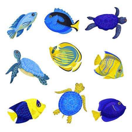Set of exotic fish. Vector illustration on white background.