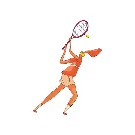 Woman tennis player discards the ball from the top. Vector illustration on white background. Illustration