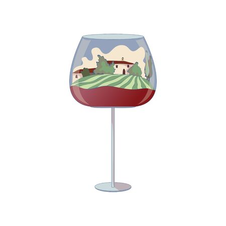 Two houses inside a glass of wine. Vector illustration on white background. Illustration