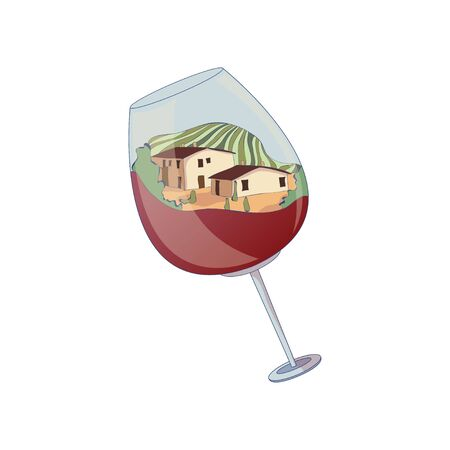 Two houses and a field inside a glass of wine. Vector illustration on white background.