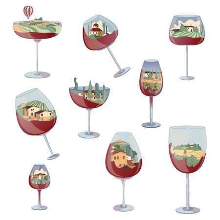 Set of landscapes inside the glasses. Vector illustration on white background.
