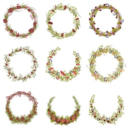 Set of images of decorative wreaths of branches and forest fruits. Vector illustration on white background.