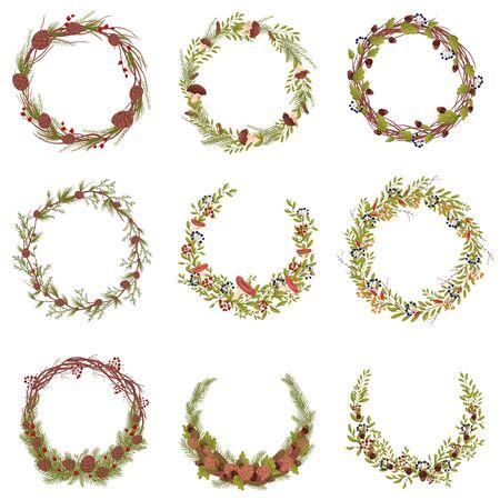 Zestaw obrazów dekoracyjnych wieńców z gałęzi i owoców leśnych. Ilustracja wektorowa na białym tle.