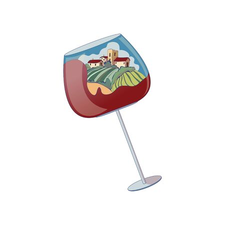 Wine glass with a few houses in the distance. Vector illustration on white background.