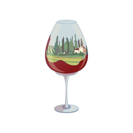 Green fields inside a wine glass. Vector illustration on white background.