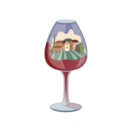 Landscape with houses inside a wine glass. Vector illustration on white background.