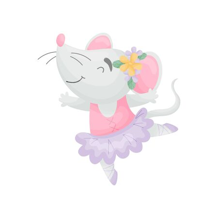 Humanized mouse in the dress of a ballerina with flowers on her head. Vector illustration on white background.