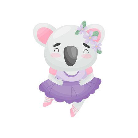 Humanized koala in ballerina dress. Vector illustration on white background. Ilustração