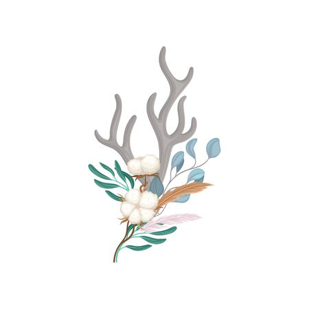 Composition of the horns, ripe fruits of cotton and leaves. Vector illustration on white background.